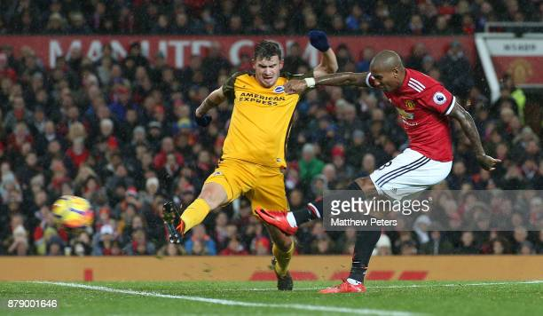 Ashley Young of Manchester United scores their first goal during the Premier League match between Manchester United and Brighton and Hove Albion at...