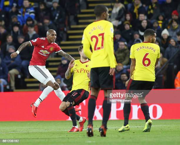 Ashley Young of Manchester United scores their first goal during the Premier League match between Watford and Manchester United at Vicarage Road on...