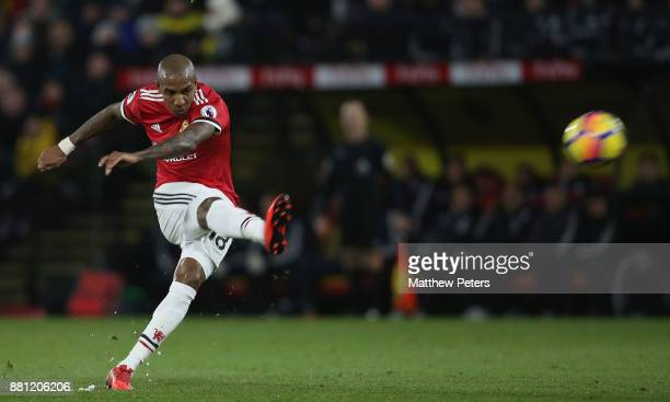 Ashley Young of Manchester United scores their second goal during the Premier League match between Watford and Manchester United at Vicarage Road on...