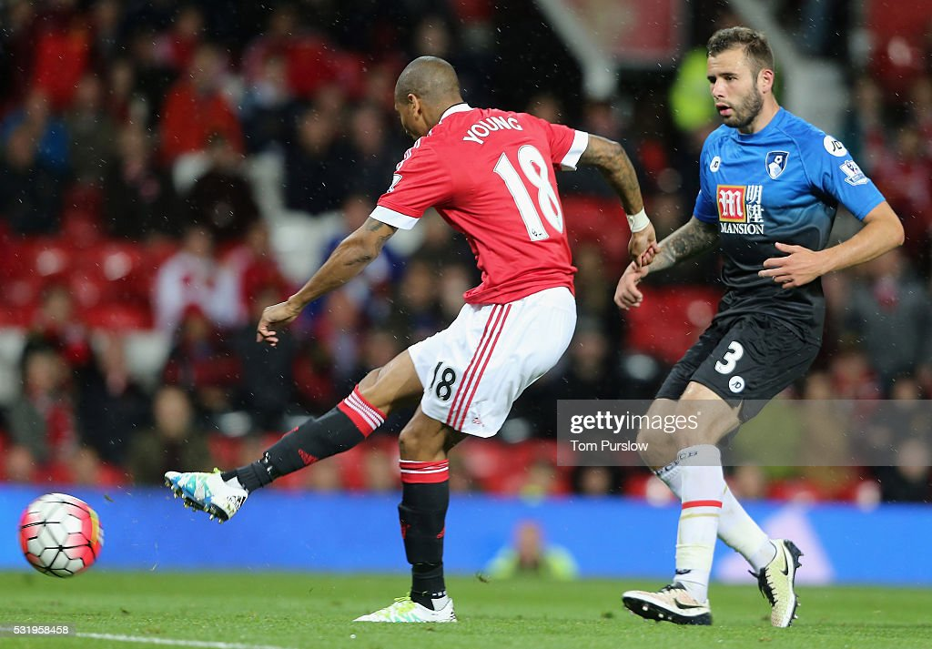 Ashley Young of Manchester United scores their third goal during the Barclays Premier League match between Manchester United and AFC Bournemouth at Old Trafford on May 17, 2016 in Manchester, England.