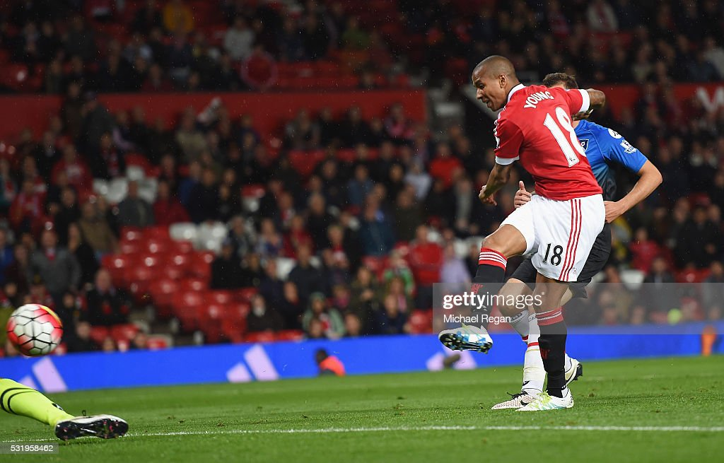 Ashley Young of Manchester United (18) scores their third goal during the Barclays Premier League match between Manchester United and AFC Bournemouth at Old Trafford on May 17, 2016 in Manchester, England.