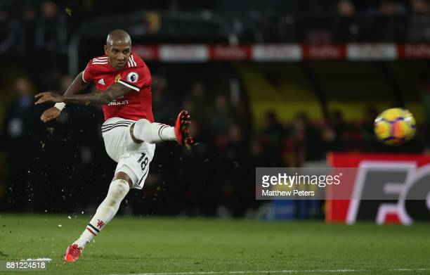Ashley Young of Manchester United takes a free kick during the Premier League match between Watford and Manchester United at Vicarage Road on...