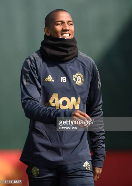 Ashley Young of Manchester United walks out to train during the Manchester United training session ahead of the UEFA Champions League Quarter Final...