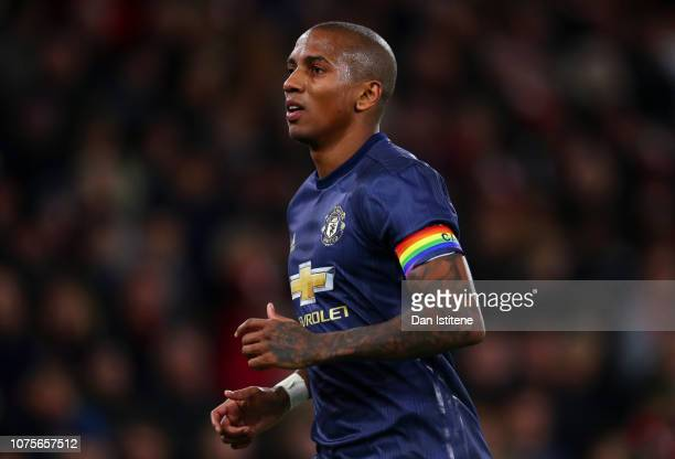 Ashley Young of Manchester United wearing a rainbow coloured captain's armband looks on during the Premier League match between Southampton FC and...