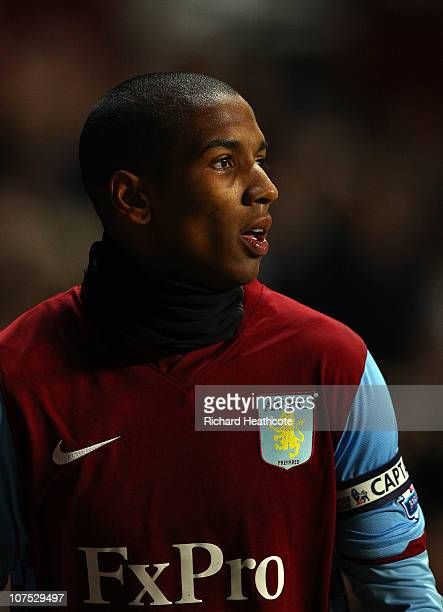 Ashley Young of Villa wears a snood around his neck during the Barclays Premier League match between Aston Villa and West Bromwich Albion at Villa...