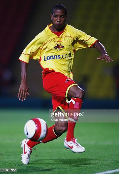 Ashley Young of Watford in action during the friendly match between Watford and Inter Milan at Vicarage Road on August 8 in Watford England