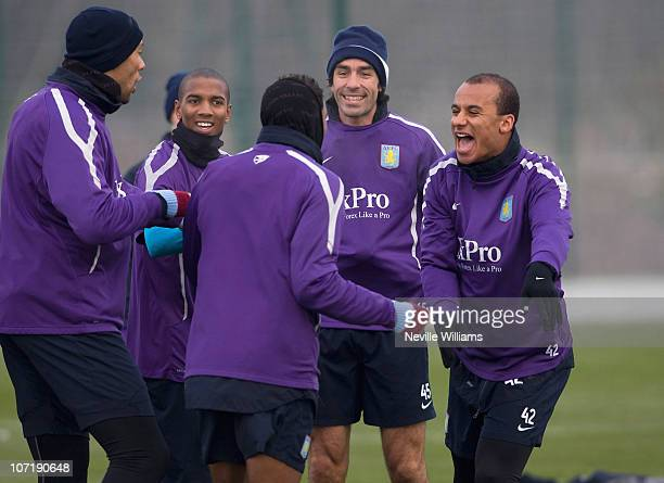 Ashley Young Robert Pires Gabriel Agbonlahor and Habib Beye of Aston Villa take part in a training session at Aston Villa's training ground Bodymoor...