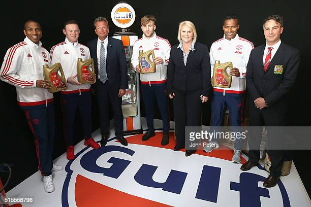 Ashley Young Wayne Rooney Gulf Oil International vice president Frank Rutten Luke Shaw Manchester United commercial director Jamie Reigle and Antonio...