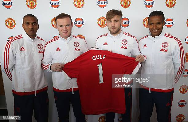 Ashley Young Wayne Rooney Luke Shaw and Antonio Valencia of Manchester United attend the launch of a partnership between Manchester United and Gulf...