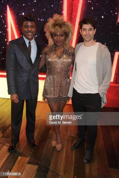 Ashley Zhangazha Nkeki ObiMelekwe and Adam Garcia attend the 1st birthday gala performance of Tina The Tina Turner Musical at The Aldwych Theatre on...