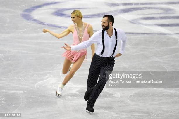 AshleyCain and TimothyLeduc of the United States compete in the Pair Short Program on day two of the ISU Team Trophy at Marine Messe Fukuoka on...
