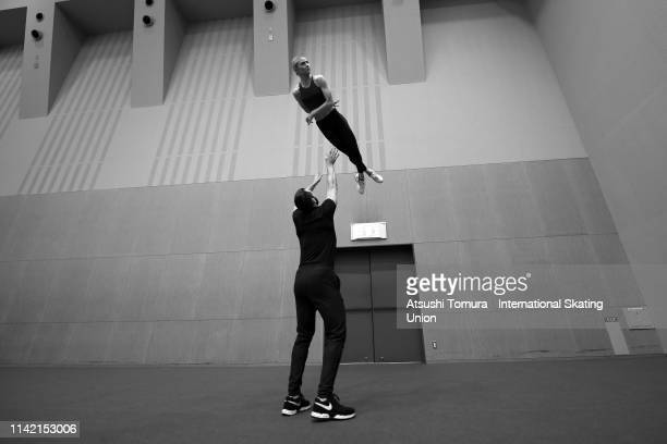 Ashley Cain and Timothy Leduc of the United States warm up on day two of the ISU Team Trophy at Marine Messe Fukuoka on April 12 2019 in Fukuoka...