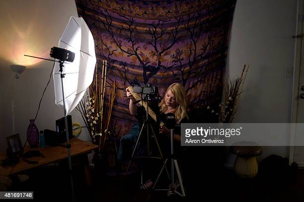 Ashlie Holbrook known by her YouTube name WhispersUnicorn records an ASMR video with a rain stick providing soothing sounds ASMR is a sensation of...