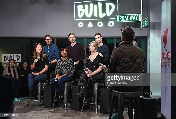Ashly Perez Keith Habersberger Quinta Brunson Ned Fulmer Kelsey Darragh Zach Kornfeld and Eugene Lee Yang attend Build Series Presents Buzzfeed...