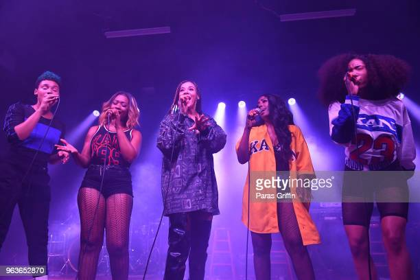 """Ashly Williams, Brienna DeVlugt, Gabby Carreiro, Kristal Lyndriette and Shyann Roberts of band June's Diary perform onstage during his """"Sum of My..."""