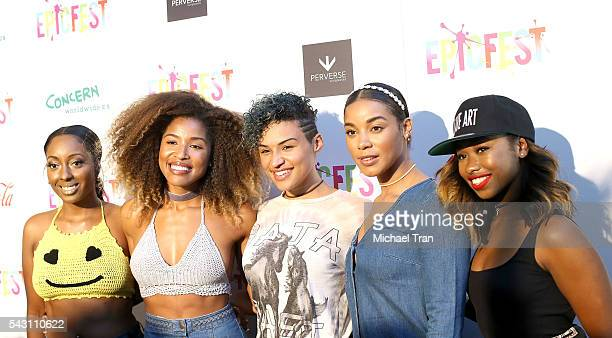 Ashly Williams, Brienna DeVlugt, Gabby Carreiro, Kristal Lyndriette, Shyann Roberts of Junes's Diary arrive at the 2nd Annual Epic Fest held at Sony...