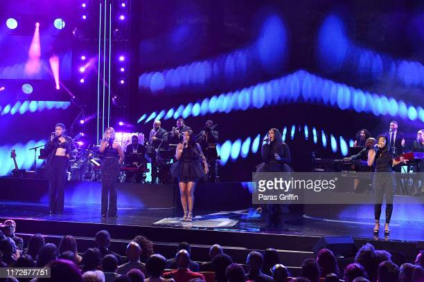 Ashly Williams, Brienna DeVlugt, Kristal Lyndriette, Gabby Carreiro, and Shyann Roberts of June's Diary onstage during 2019 Black Music Honors at...
