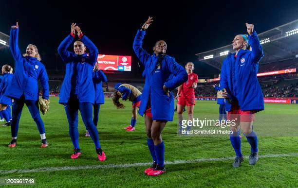 Ashlyn Harris Ali Krieger Crystal Dunn and Julie Ertz of the United States celebrate during a game between Mexico and USWNT at Dignity Health Sports...