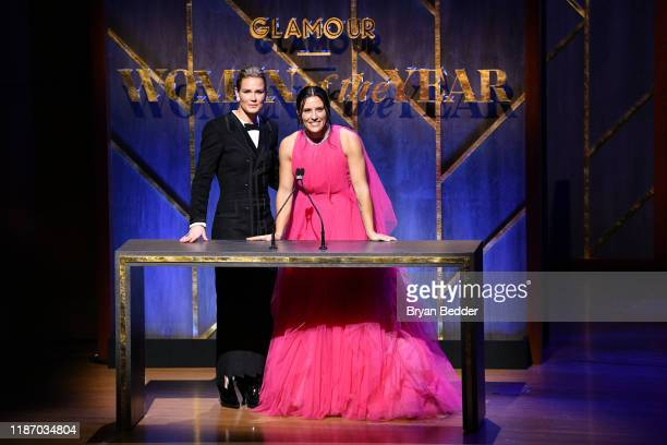 Ashlyn Harris and Ali Krieger speak onstage at the 2019 Glamour Women Of The Year Awards at Alice Tully Hall on November 11 2019 in New York City