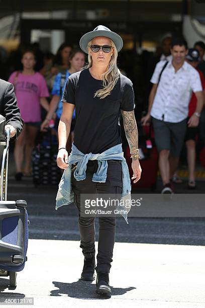 Ashlyn Harris is seen at LAX on July 13 2015 in Los Angeles California