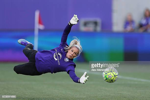 Ashlyn Harris of Orlando Pride is seen during warmups prior to a NWSL soccer match against the Houston Dash at the Orlando Citrus Bowl on April 23...