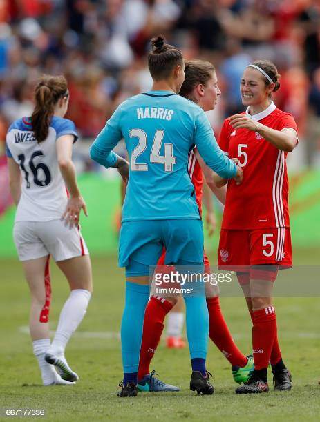 Ashlyn Harris of the US greets Ekaterina Lazareva of Russia after the International Friendly soccer match at BBVA Compass Stadium on April 9 2017 in...