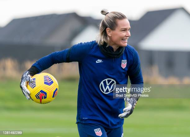 Ashlyn Harris of the USWNT throws the ball back during a training session at Dick's Sporting Goods Park training fields on October 20 2020 in...