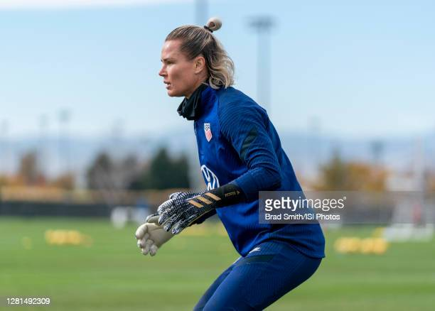 Ashlyn Harris of the USWNT waits for the ball during a training session at Dick's Sporting Goods Park training fields on October 20 2020 in Commerce...