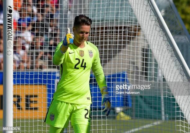 Ashlyn Harris of USA flashes a thumbsup after making a save against Korea Republic during their game at WakeMed Soccer Park on October 22 2017 in...