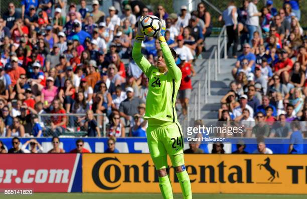 Ashlyn Harris of USA makes a save against Korea Republic during their game at WakeMed Soccer Park on October 22 2017 in Cary North Carolina