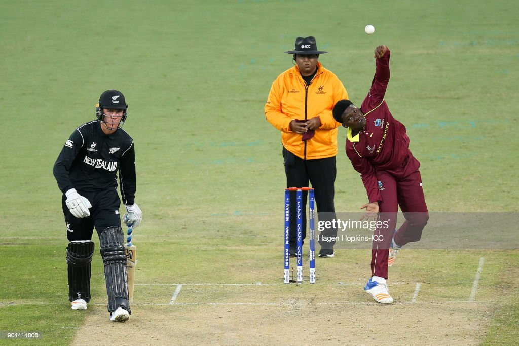 Ashmead Nedd of the West Indies bowls while Finn Allen of New Zealand looks on during the ICC U19 Cricket World Cup match between New Zealand and the West Indies at Bay Oval on January 13, 2018 in Tauranga, New Zealand.