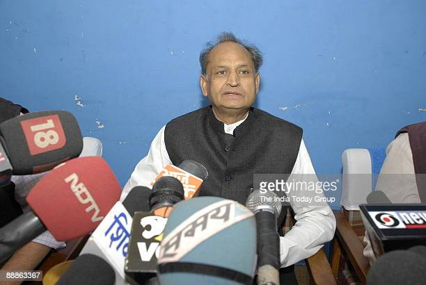 Ashok Gehlot General Secretary of All India Congress Committee and former Chief Minister of Rajasthan addressing the Media at a Press Conference in...
