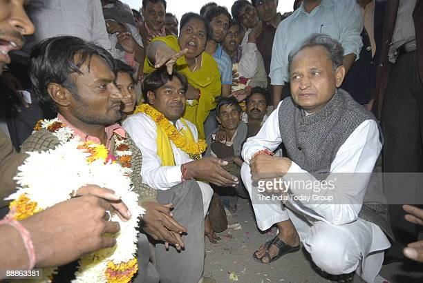 Ashok Gehlot General Secretary of All India Congress Committee and former Chief Minister of Rajasthan addressing the Media at his Residence in...