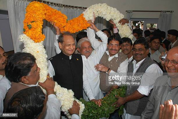 Ashok Gehlot General Secretary of All India Congress Committee and former Chief Minister of Rajasthan at Jaipur in Rajasthan India