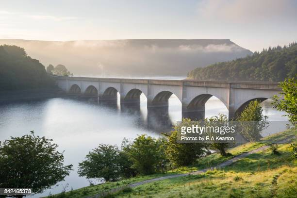 ashopton viaduct on a september morning, peak district, england - september stock pictures, royalty-free photos & images