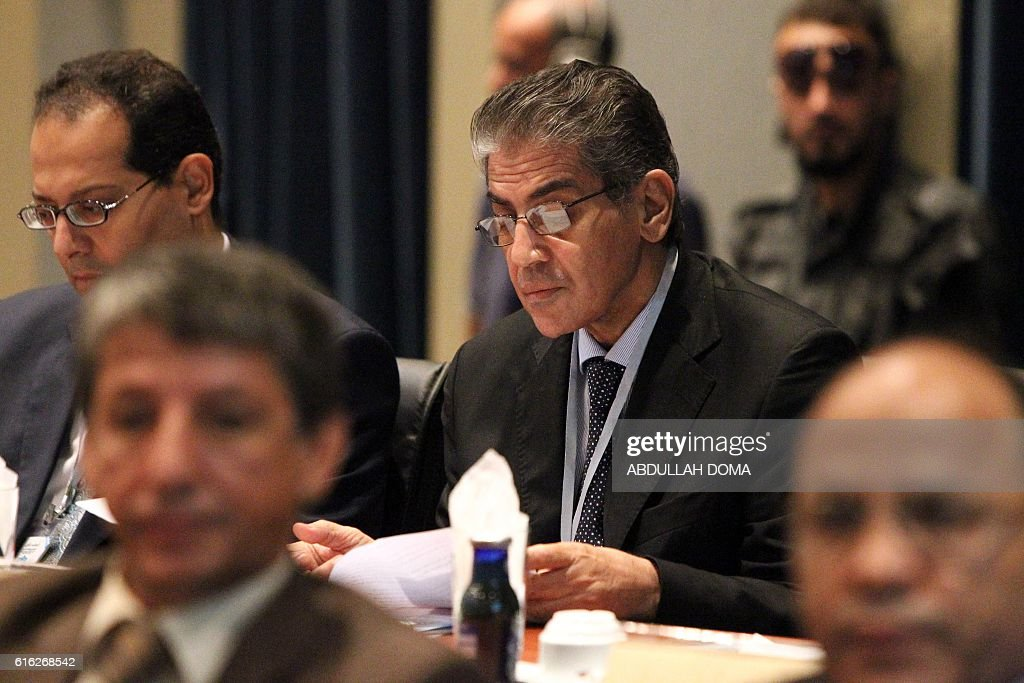 Ashour Suleiman Shuwail, former Libyan Minister of Interior, attends a conference titled 'Documenting war crimes' on October 22, 2016 in Libya's second city Benghazi. / AFP / Abdullah DOMA