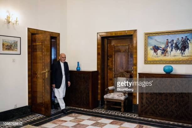 Ashraf Ghani Afghanistan's president arrives for a Bloomberg Television interview in Kabul Afghanistan on Thursday Nov 1 2018 Ghani said the Taliban...