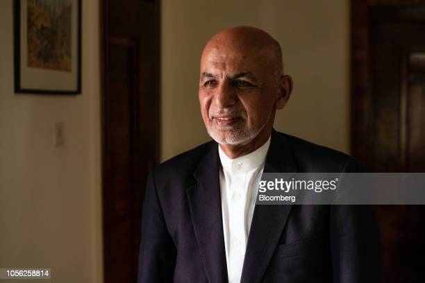 Ashraf Ghani Afghanistan's president poses for a photograph following a Bloomberg Television interview in Kabul Afghanistan on Thursday Nov 1 2018...