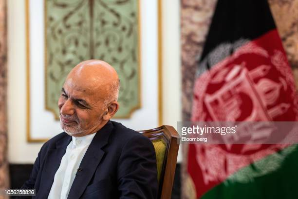 Ashraf Ghani Afghanistan's president reacts during a Bloomberg Television interview in Kabul Afghanistan on Thursday Nov 1 2018 Ghani said the...