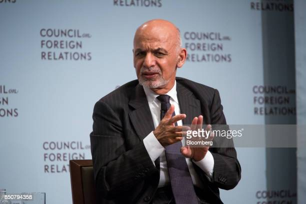 Ashraf Ghani Afghanistan's president speaks at the Council on Foreign Relations in New York US on Thursday Sept 21 2017 President Ghani will discuss...