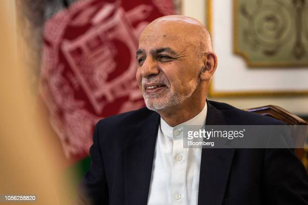 Ashraf Ghani Afghanistan's president speaks during a Bloomberg Television interview in Kabul Afghanistan on Thursday Nov 1 2018 Ghani said the...