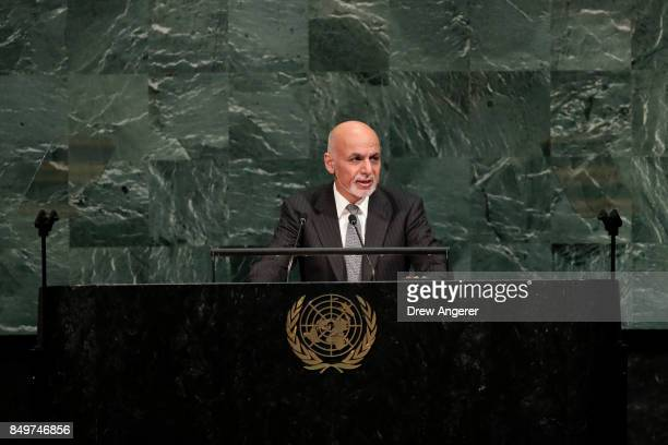 Ashraf Ghani president of Afghanistan addresses the United Nations General Assembly at UN headquarters September 19 2017 in New York City The most...