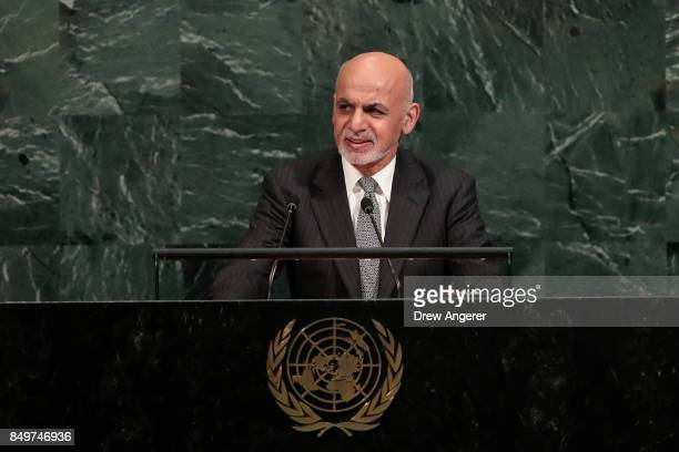Ashraf Ghani, president of Afghanistan, addresses the United Nations General Assembly at UN headquarters, September 19, 2017 in New York City. The...