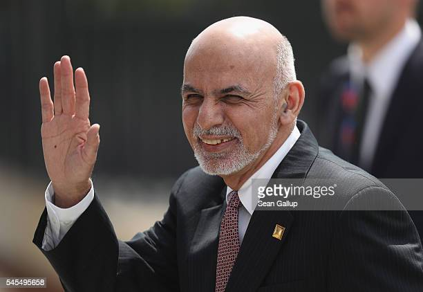 Ashraf Ghani President of Afghanistan arrives for the Warsaw NATO Summit on July 8 2016 in Warsaw Poland NATO member heads of state foreign ministers...
