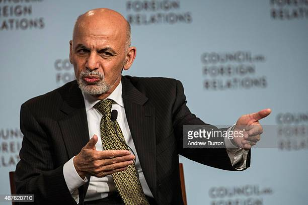 Ashraf Ghani, President of Afghanistan, speaks at the Council On Foreign Relations on March 26, 2015 in New York City. President Ghani has been...