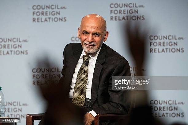 Ashraf Ghani President of Afghanistan speaks at the Council On Foreign Relations on March 26 2015 in New York City President Ghani has been touring...