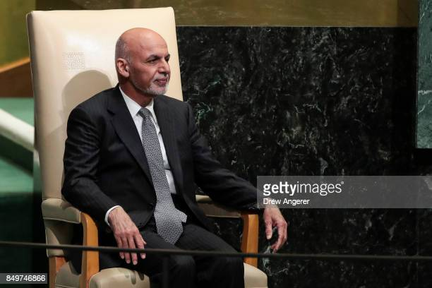 Ashraf Ghani president of Afghanistan waits to take the lectern to address the United Nations General Assembly at UN headquarters September 19 2017...