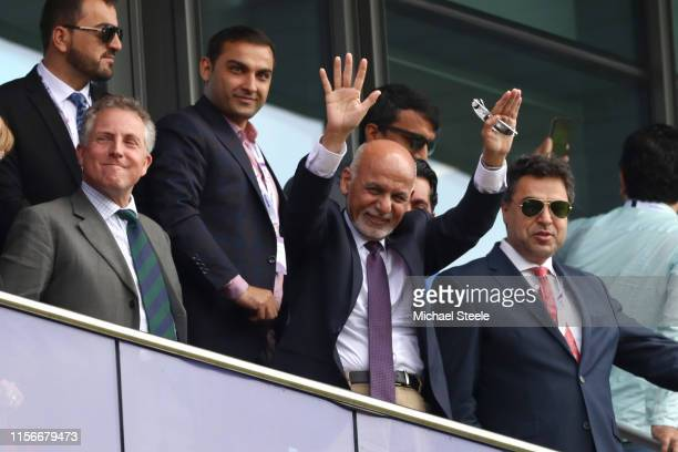Ashraf Ghani the President of Afghanistan waves to the crowd during the Group Stage match of the ICC Cricket World Cup 2019 between England and...