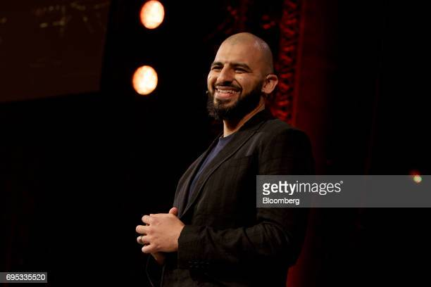 Ashraf Ismail game director of UbiSoft Entertainment SA smiles while announcing the Assassins Creed Origins video game during the company's event...