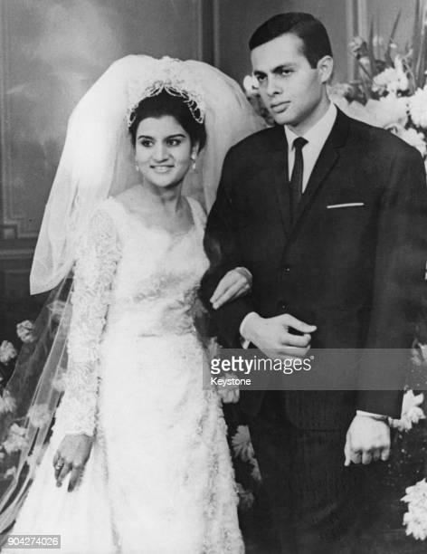 Ashraf Marwan with his bride Mona Gamal Abdel Nasser daughter of Egyptian President Gamal Abdel Nasser at their wedding at the President's home in...